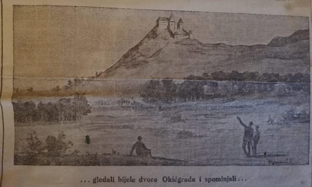 """Ilustracija Okić grada iz: """"Plameni križari"""", u: Jutarnji list, četvrtak, 21. studenoga 1929: 14. str."""