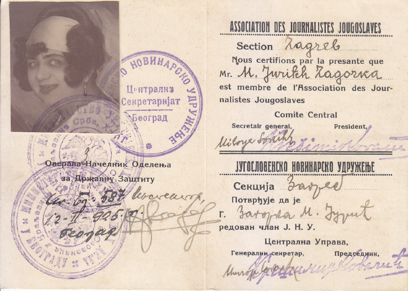 Marija Jurić Zagorka - članska iskaznica novinarskog društva