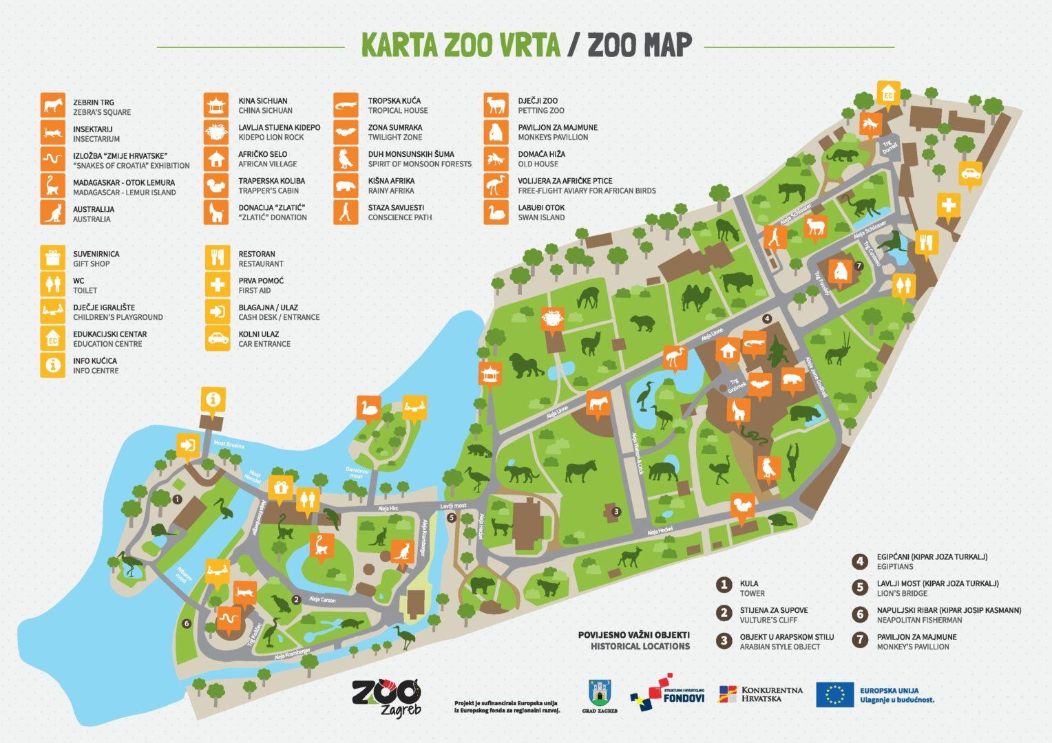Maksimir - karta Zoološkog vrta